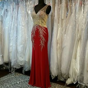 Dresses & Skirts - Red Crystal Jersey Gown
